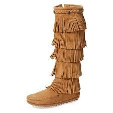 Minnetonka Size Chart Minnetonka Moccasins 1657t Womens 5 Layer Fringe Boot Taupe Suede Calf High Fringed Boots