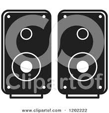 computer speakers clipart. clipart of a black and white computer speakers icon - royalty free vector illustration by lal perera