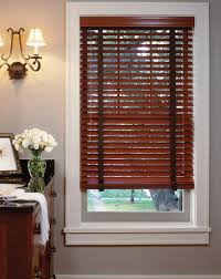 red wooden window blinds