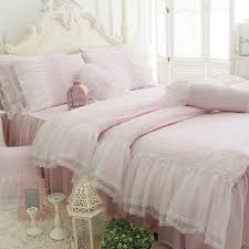 sophisticated elegant pale pink vintage shabby chic victorian lace gathered ruffle romantic girls twin full queen size bedding sets