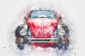 car old car art abstract watercolor