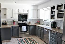 appealing two tone kitchen cabinets come with black white colors wooden kitchen cabinets and brown color granite countertops plus double door kitchen