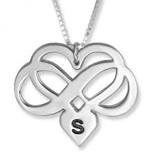 infinity heart necklace. infinity heart initial pendant, sterling silver necklace