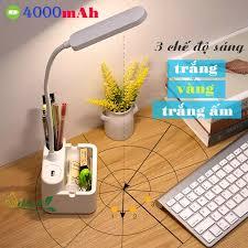 Đèn học để bàn chống cận sạc pin SL-868 4000mAh với 3 chế độ ánh sáng trắng  vàng và trắng ấm điều chỉnh được độ sáng