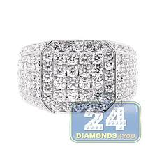mens iced out diamond square signet