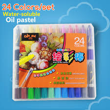 crayons 24 colors set water soluble rotating oil painting stick child paint brush plastic case
