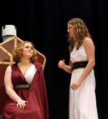 thespians don togas for when in rome pained by the thought of marriage the r princess portrayed by annabella shocklee grimaces at her lady in waiting played by bri marr