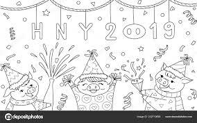 Schattig Drie Varkens Vieren Nieuwjaar 2019 Voor Design Element