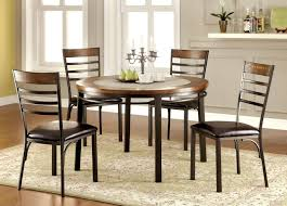 Riley Round Wood Stone Insert Dining Table Set Industrial Style