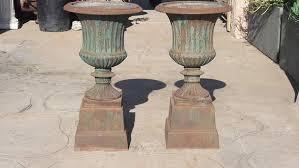 french cast iron garden urns set