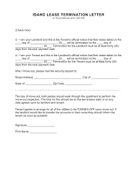 Free Idaho Termination Lease Termination Letter Form 30 Day
