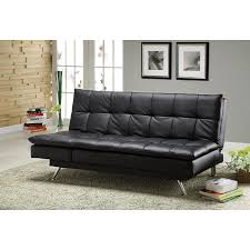 furniture of america hasty black faux leather futon