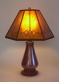 t222 copper small table lamp amber windowpane mica mission lamp shade