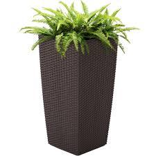 Self-Watering Wicker Planter - Brown