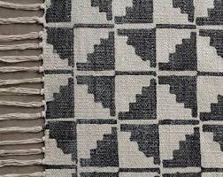 black and white geometric rug. medium rug, black and white geometric cotton carpet rug i