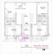 Square Kitchen Floor Plans 1600 Square Feet House With Floor Plan Sketch Kerala Home Design