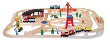 large wooden railway set