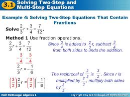 solving a two step equation with signed fractions calculator