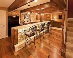 basement bar lighting. obsessed with the lights beams and stone to create a beautiful basement bar lighting