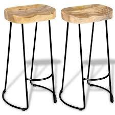 Gavin <b>Bar Stools</b> 2 pcs <b>Solid Mango</b> Wood - 244010UK