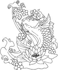 Koi Fish Jumping Out Of Water Coloring Pages Download Print