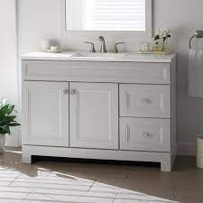 Home Decorators Collection Sedgewood 48 1 2 In W Bath Vanity In Dove Gray With Solid Surface Technology Vanity Top In Arctic With White Sink Pplnkdvr48d The Home Depot
