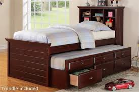 twin bed with storage and bookcase headboard. Delighful Storage Cherry Twin Bed With Bookcase Headboard And Trundle Storage Item   F9220 For With And E