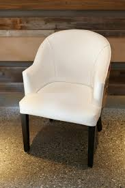 white leather dining chairs. White Faux Leather + Burlap Dining Chair Chairs I