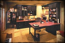 idea decorating office. Luxury Home Office Decors With Espresso Stained Cabinetry Storage Also L Shape Table And Swivel Chairs Idea Decorating