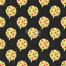 repeating pizza background. Interesting Background Hand Drawn Tasty Pizza Circles Vector Seamless Pattern Modern Stylish  Repeating Fast Food Service Elements Intended Repeating Pizza Background S