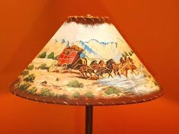 cowboy lamps leather and rawhide trim lamp shade western theme with hand painted wagon dallas cowboy