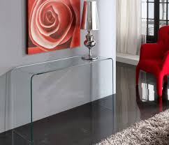 red hallway table. modern clear bent glass console table red hallway i