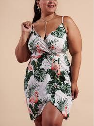 Boohoo Plus Size Chart White Boohoo Palm And Flamingo Print Bohemian Shoulder Strap V Neck Plus Size Beach Mini Dress