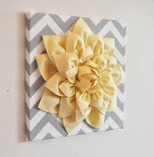 zoom on 3d flower wall canvas art with wall flower light yellow dahlia on gray and white chevron 12