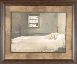 Master Bedroom Andrew Wyeth 35x29 Gallery Quality Framed Print Dog Sleeping  Bed Picture