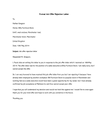 Rejecting An Offer Letter Formal Rejection Letter To Decline Job Offer Sample Letters
