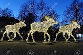 Moose Christmas Lights Floc Of Christmas Moose Made Of Led Light Nybrokajen Stockholm