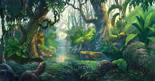 Fantasy Forest Background Illustration Painting By Noreefly
