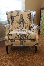 wingback chair covered in duralee s aquadisiac aka octopus chairs