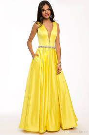 Fashion Long Style Evening Dress Sexy Yellow Color Satin Material