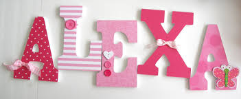 Baby Monogram Wall Decor Baby Girl Custom Wooden Letters Pink Butterfly Decor Nursery