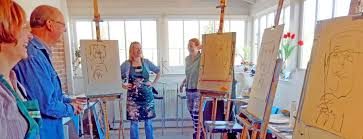 a drawing session on the portrait course august painting weekends w