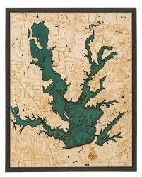 Lewisville Lake 3 D Nautical Wood Chart 24 5 X 31