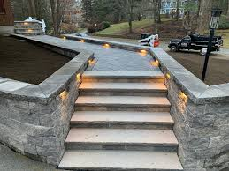 Brick Paver Lights Gray Brick Paver Walkway With Built In Retaining Wall And