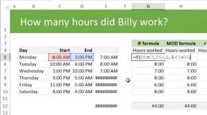 Calculating Total Working Hours Using Excel Example Discussion