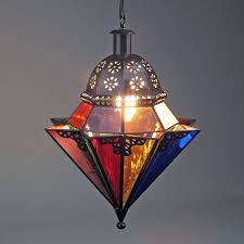 8 point colored glass and punched tin hanging light fixture regarding punched tin lighting fixtures