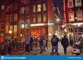 Amsterdam Red Light District Photo Red Light District In Amsterdam By Night Editorial Image