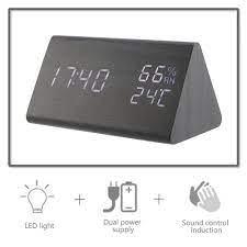 Dijital Alarmlı Saat Saat 3 Alarm Ayarları Ile Ahşap Elektronik LED Ekran  Zaman çift Sıcaklık Ve Nem Algılama Www2.nickpick.me