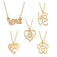 i love paw necklace gold silver chain hollow dog paw claw heart pendant necklace cat kitty
