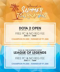 dota 2 and lol open tournies to be held along taft this wednesday